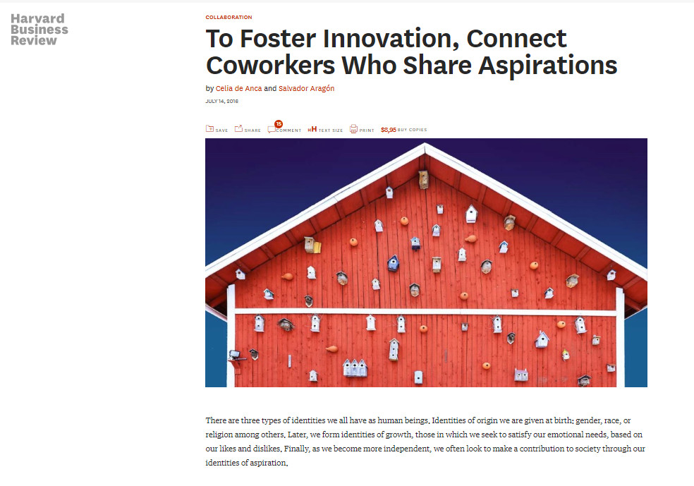 To foster innovation , connect co - wprkerswho share aspirations